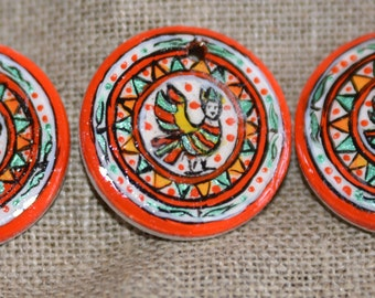 """Washer wooden hand painted. Pattern """"Phénixe"""""""