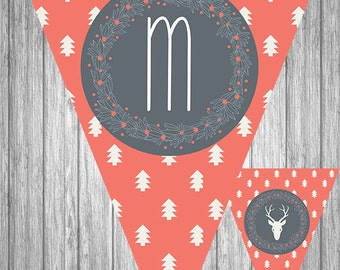 Printable Christmas Banner - Merry Christmas - Pink Background with White Trees