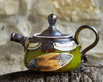 Pottery Teapot. Small Ceramic teapot. Handmade Tea Pot, Wheel Thrown Pottery teapot, Green teapot, Ceramic art, Bulgarian crafts