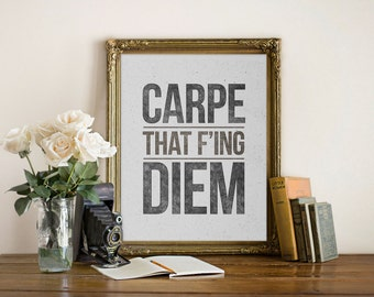 Carpe Diem Print, Inspirational Quote, Motivational Wall Decor, Black and White Art, Typographic Art, Office Decor, Carpe Diem Poster