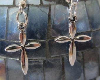 Pair of Silver Finish Cross Drop Earrings