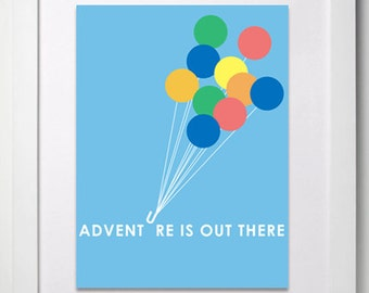Adventure Is Out There Digital Print | Inspired By Up The Movie | Balloons | Blue Sky Wall Art