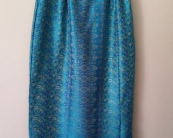 Chinese skirt, S, turquoise skirt, boho maxi skirt, formal skirt, damask skirt, satin skirt, turquoise skirt
