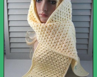 Pretty Little Daisy Granny Squares on this Yellow Hand Crocheted Scarf . . .