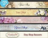 75% OFF SALE ETSY Shop Banners - Set #2. Digital banner etsy shop digital images printable download digital collage sheets downloads shop