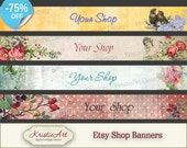 75% OFF SALE ETSY Shop Small Banners - Set #3. Digital banner etsy shop digital images printable download digital collage sheets downloads