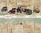 75 % de réduction vente rétro nostalgie - Collage numérique feuille numérique cartes C094 imprimable Télécharger, voiture, Automobile, homme, numérique Atc, ACEO Vintage