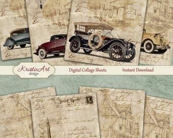 75% OFF SALE Retro Nostalgia - Digital Collage Sheet Digital Cards C094 Printable Download, Car, Automobile, Men, Digital Atc, ACEO Vintage