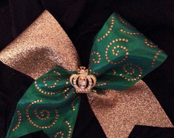 Kelly Green/Gold Curly Que Cheer Bow with Crown