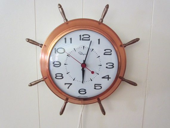 Ingraham Ships Wheel Wall Clock// Copper Nautical Clock For