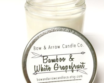 Natural Soy Candle Bamboo & White Grapefruit Scented | 7 oz Jar Candle | Grapefruit Candle | Bamboo Scented | Scented Soy Candle | Gift Idea