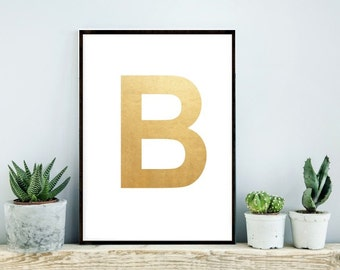 Monogram Print, Gold Print, Printable Art, custom Print, Initial letter, B, Wall Decor, Home Decor, Wall Art,  Digital download