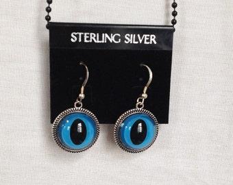Resin Cat Earrings, Blue Cat Eyes, Pierced, Sterling Silver
