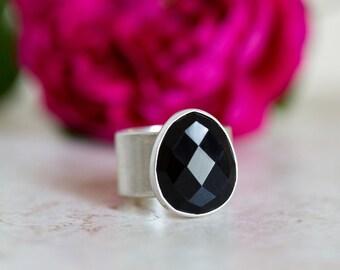 Black Onyx Ring, Black Gemstone Ring, Rose Cut Black Onyx, Sterling Silver Wide Band Gemstone Ring