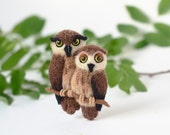 Couple owls brooch Owl jewelry Felt owl pin Love birds jewelry Wood birds brooch Woodland jewelry Cute animals brooch Wool pin Autumn trends