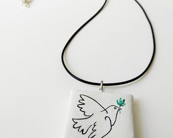 Mini canvas necklace, Picasso's dove, handpainted tiny canvas pendant, dove of peace.