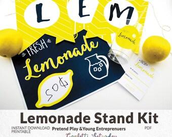 Lemonade Stand Kit - Printables for Lemonade Stand - INSTANT DOWNLOAD