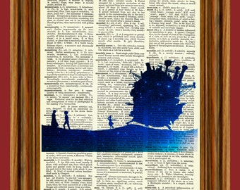 Howl's Moving Castle Upcycled Dictionary Art Print Poster