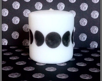 Moon Phases Small Pillar Candle Goth Astrology Astronomy