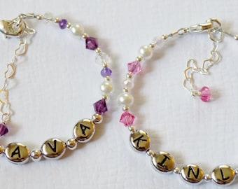 Swarovski Crystal Birthstone Bracelet //  Baby Name Bracelet // Baby Bracelet // Name Bracelet // Personalized Name Bracelet