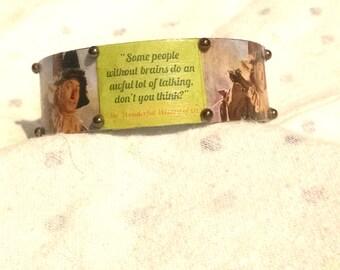 Wizard of Oz jewelry / scarecrow adjustable metal cuff bracelet / Oz's scarecrow bracelet /