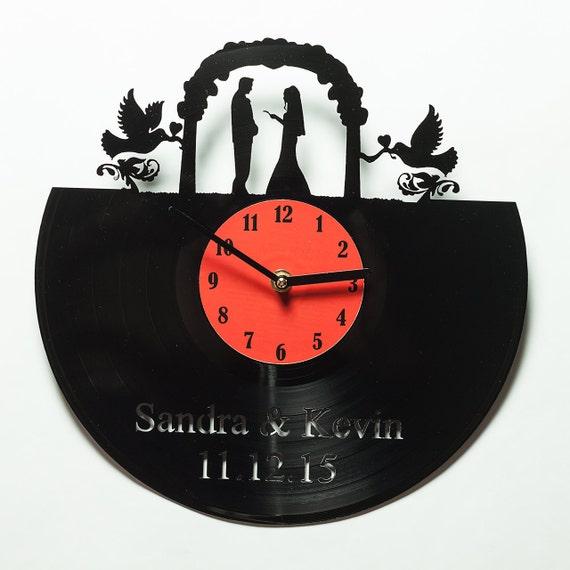 Wedding Clock Gift: Custom Clock Wedding Gift Vinyl Clock Unique By