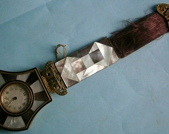 Hanging Swiss Watch / Clock In an Austrian Mother of Pearl and Brass Case