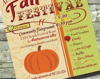 Harvest Fest ~ FALL FESTIVAL ~ Church or Community Event ~ 5x7 Invite ~ 8.5x11 Flyer ~ 11x14 Poster ~ 300 dpi Digital Invitation
