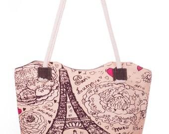 Eiffel Tower Print Bag Beach Bag Beige and Brown Handbag Zipped Shoulder Bag Roomy Tote Bag with Sturdy Handles (C0508)