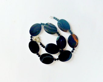 Agate, Black agate Necklace, agate Necklace, Black necklace, Necklaces handmade, gift, jewelry, for her