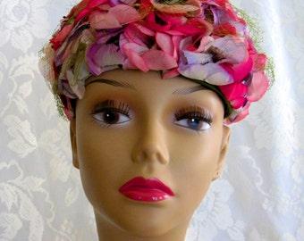 Vintage Pink Silk Floral 1950s Pillbox Hat