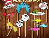 DR. SEUSS Baby Shower Photo Booth Props and/or Cutouts-  Digital File
