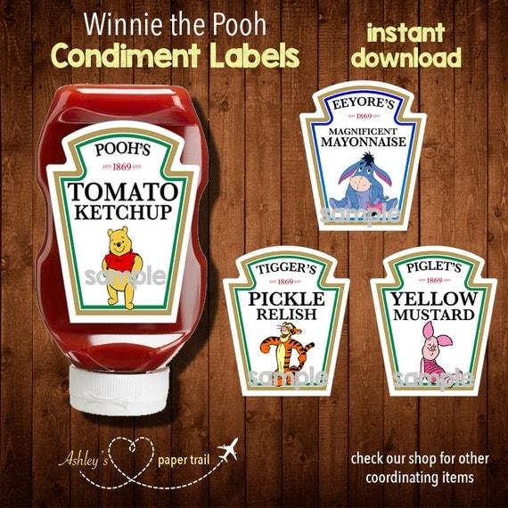 WINNIE THE POOH Condiment Labels Digital By AshleysPaperTrail