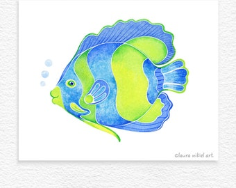 Whimsical Blue Angelfish - tropical - coastal  - fish - archival art print - watercolor - decor - ready to frame