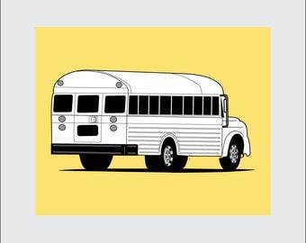 School Bus Art Print, 8x10 PRINTABLE, Instant Download, Digital