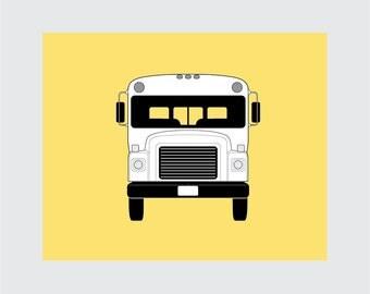 School Bus Art Print, 8x10 PRINTABLE, Front View, Instant Download, Digital