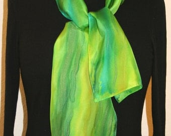 Green Silk Scarf. Lime Hand Painted Silk Shawl. Hand Dyed Silk Scarf GREEN MEADOW. Size 8x54. Birthday, Anniversary Gift. Gift-Wrapped.