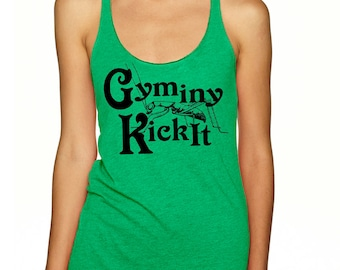 GYMINY KICKIT! Racerback Tank for Running, Gym, Workout, Fitness. Funny Top for Kickboxers. Play on Jiminy Cricket. Next Level Larger Sizes