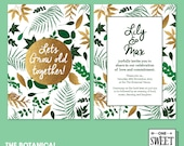 Wedding Invitation, Botanical Garden, Green and Gold leaves, Nature, Unique, Invitations, Summer, Wedding, Printable, DIY print