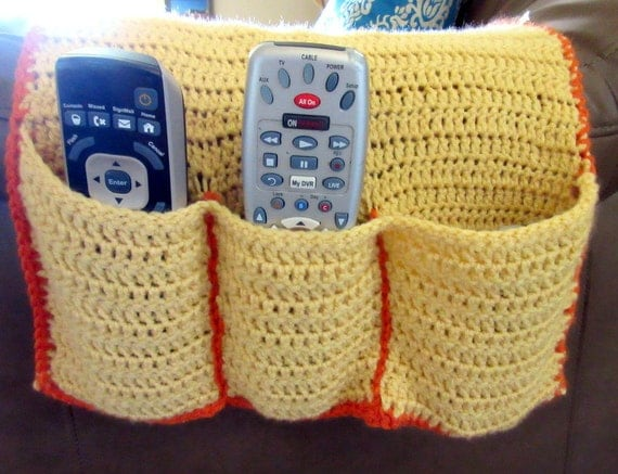Crochet Remote Cozy Armchair Caddy Remote by ContraryCanaryCrafts