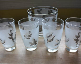Vintage Frosted Silver Glass Leaf Ice Bucket and 4 Matching Tumblers