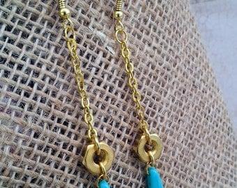 Long hex nut gold chain earrings