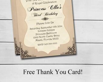 VINTAGE PRINCESS INVITATION,Princess Invitations,Vintage Invitation,Printable Invitation,Girl Birthday,Princess Party,PerfectPixelFactory