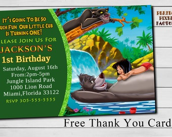 DISNEY'S JUNGLE BOOK, Birthday Invitation,Safari,Jungle,Zoo,Party,Printable Invitation,Made To Order,Diy,Perfect Pixel Factory