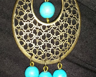 Multi-Metal and Turquoise Necklace