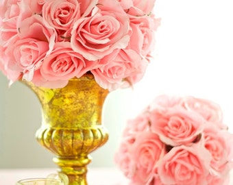Ceramic Urn for Silk Floral Kissing Ball Centerpieces - Silver