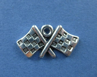10 Checkered Flag Charms - Checkered Flag Pendant - Checkered Flag Charm - Antique Silver - 23mm x 12mm -- (No.19-10443)