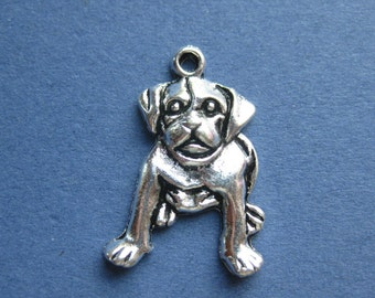 10 Dog Charms - Dog Pendant - Animal Charm - Animal Pendant - Antique Silver - 26mm x 18mm -- (No.26-10477)