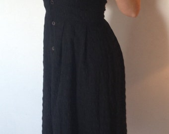 Vintage black midi dress (semi sheer) button down front