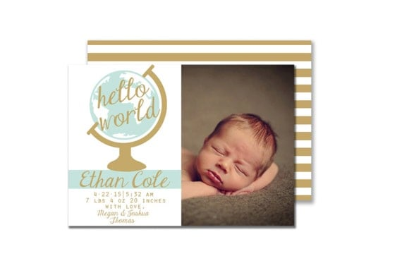 Hello World Blue And Gold Baby Boy Birth By LiviLouDesigns